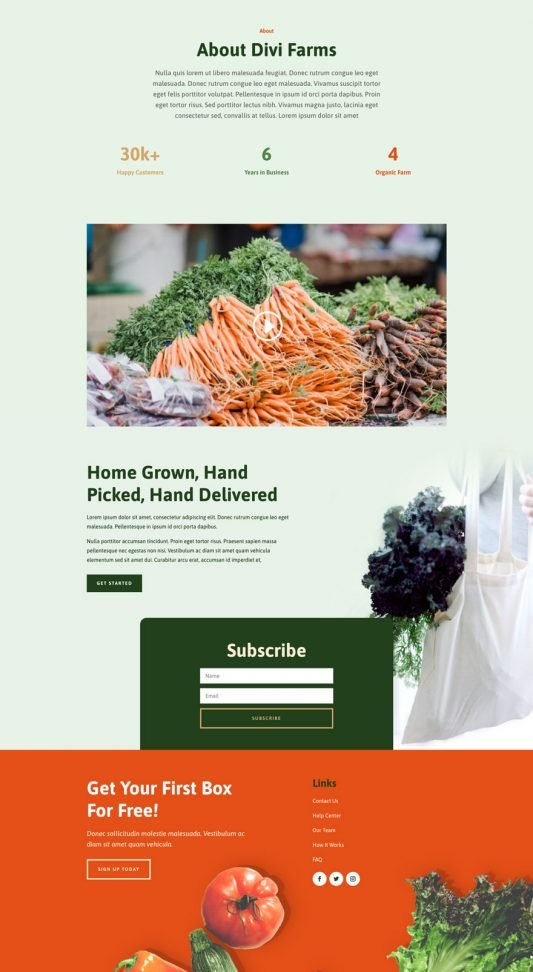 Produce box about page