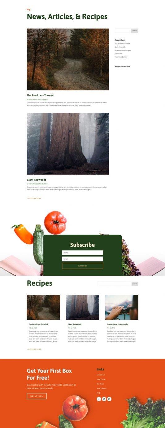 Produce box Blog page