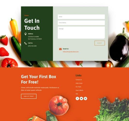 Produce box contact page