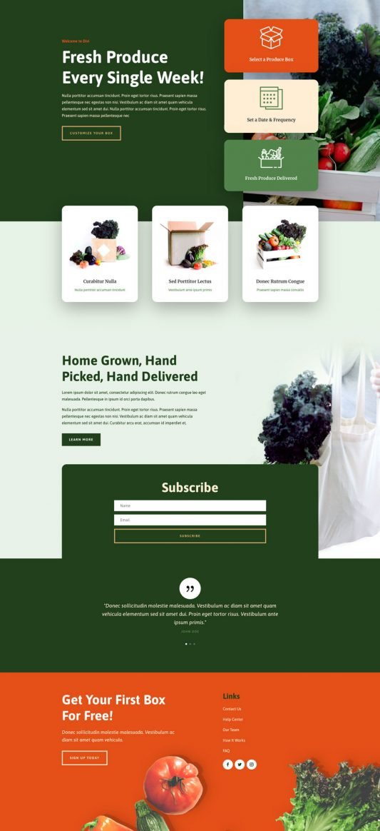 Produce box home page