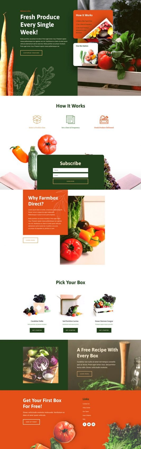 Produce box Landing page