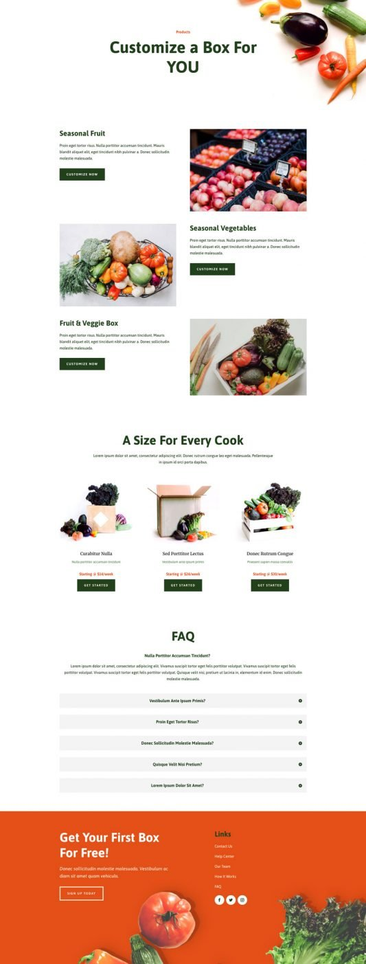 Produce box products page